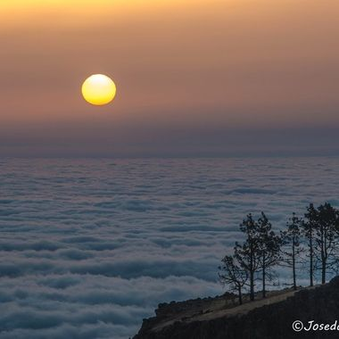The sun rises above a sea of clouds in the mountains of Gran Canaria.