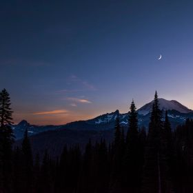 Sunset  at Mt. Rainier with the moon and Venus above the mountain.