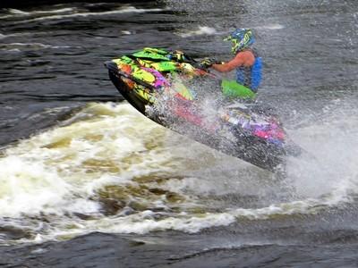 Kinds of Water sports. Jet ski (water motorcycle). Losevskiy threshold, Losevo (formerly Kiviniemi). Leningrad region, St. Petersburg. 20x zoom. Photo 2.