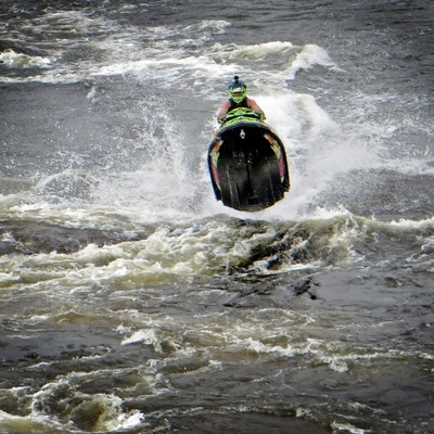 Kinds of Water sports. Jet ski (water motorcycle). Losevskiy threshold, Losevo (formerly Kiviniemi). Leningrad region, St. Petersburg. 20x zoom. Photo 3.