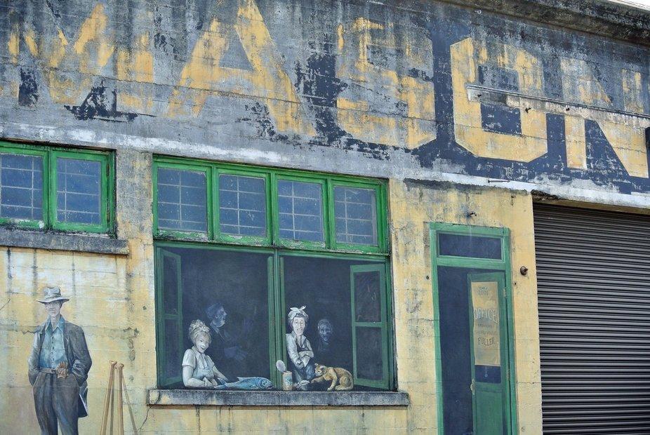 Interesting warehouse art along the boardwalk in Astoria, OR.