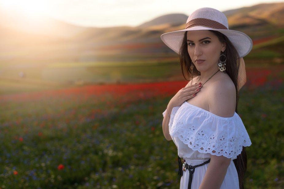 model Annalinda Barini loc. Castelluccio di Norcia (Italy)