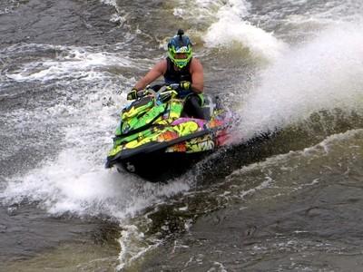 Kinds of Water sports. Jet ski (water motorcycle). Losevskiy threshold, Losevo (formerly Kiviniemi). Leningrad region, St. Petersburg. 20x zoom. Photo 5.