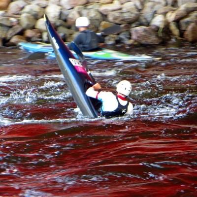 Kinds of Water sports. Kayak. Losevskiy threshold, Losevo (formerly Kiviniemi). Leningrad region, St. Petersburg. 20x zoom. Photo 8.
