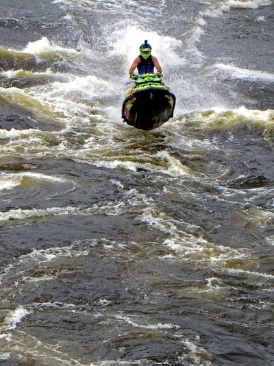 Kinds of Water sports. Jet ski (water motorcycle). Losevskiy threshold, Losevo (formerly Kiviniemi). Leningrad region, St. Petersburg. 20x zoom. Photo 9.