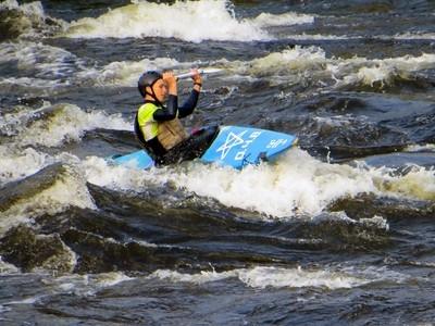 Kinds of Water sports. Kayak. Losevskiy threshold, Losevo (formerly Kiviniemi). Leningrad region, St. Petersburg. 20x zoom. Photo 10.