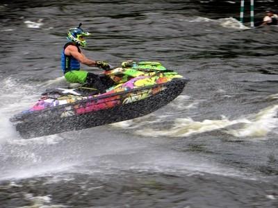 Kinds of Water sports. Jet ski (water motorcycle). Losevskiy threshold, Losevo (formerly Kiviniemi). Leningrad region, St. Petersburg. 20x zoom. Photo 11.