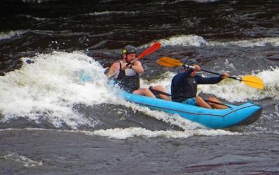 Kinds of Water sports. Inflatable kayak. Losevskiy threshold, Losevo (formerly Kiviniemi). Leningrad region, St. Petersburg. 20x zoom. Photo 13.