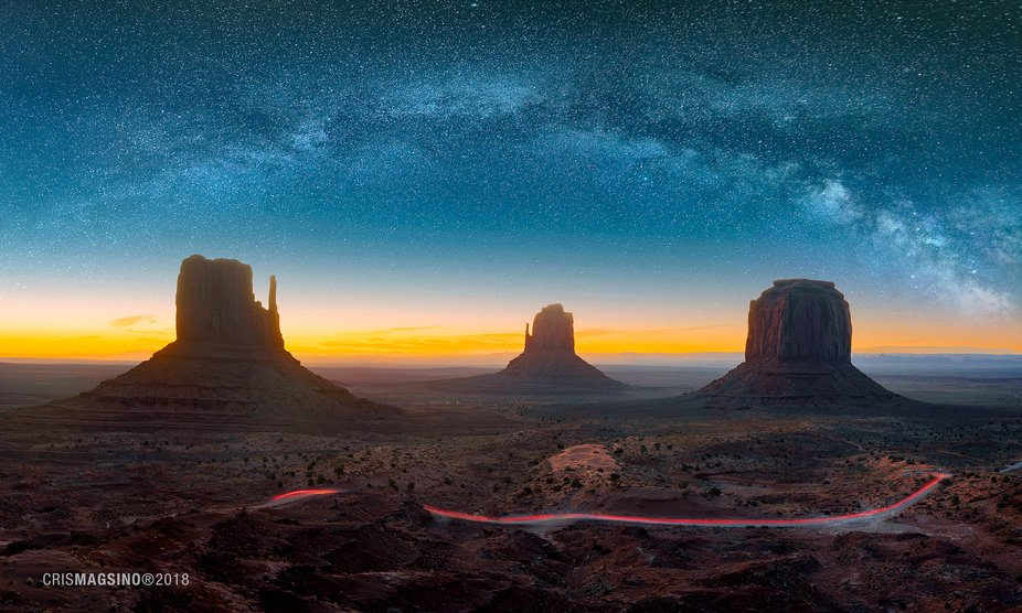 Monument Valley under the blanket of stars.