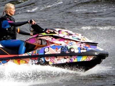 Kinds of Water sports. Jet ski (water motorcycle). Losevskiy threshold, Losevo (formerly Kiviniemi). Leningrad region, St. Petersburg. 20x zoom. Photo 20.