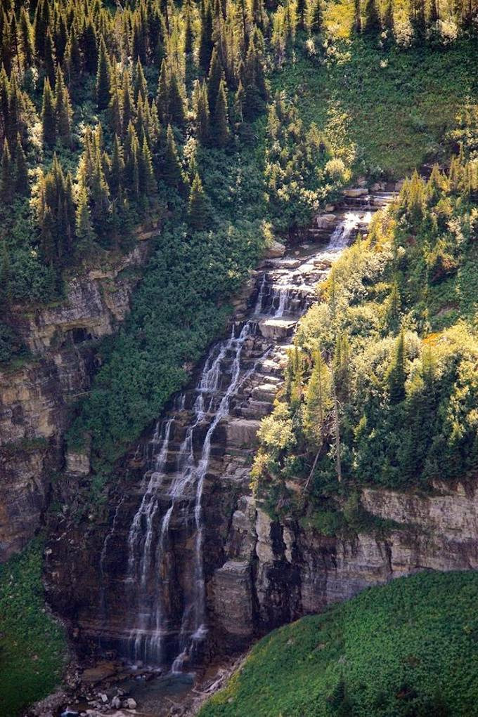 One of the many waterfalls on the road going into the sun, Glacier National Park.