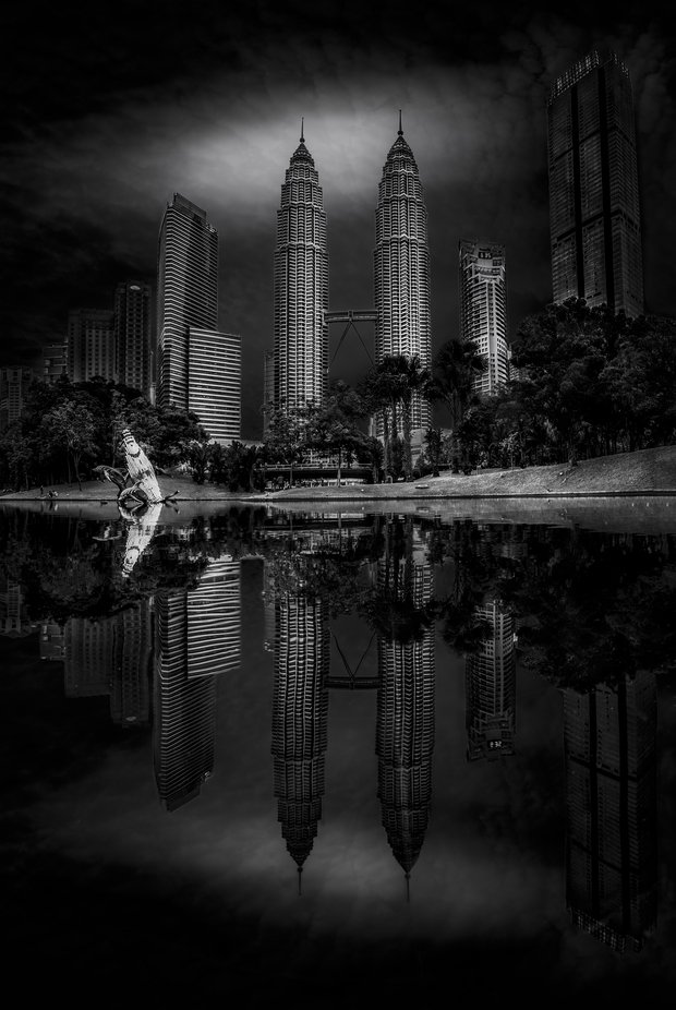 Twin Towers by TienSangKok - Our World In Black And White Photo Contest