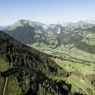 View from my paraglider during a wonderful morning flight from Wispile to Gstaad.