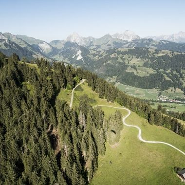 View down from my paraglider on an Alp at Wispile, Gstaad.
