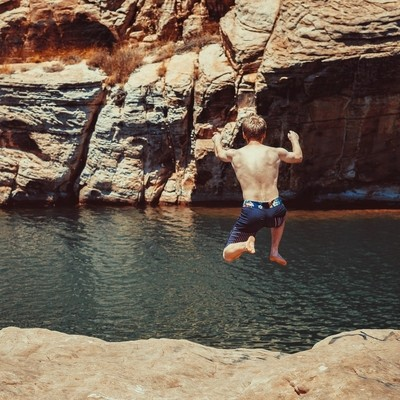 Jumping into Clear Creek