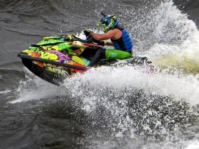 Kinds of Water sports. Jet ski (water motorcycle). Losevskiy threshold, Losevo (formerly Kiviniemi). Leningrad region, St. Petersburg. 20x zoom. Photo 21.