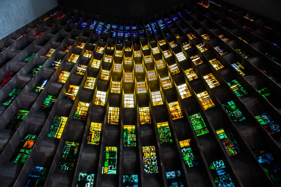 Stained glass window in Coventry Cathedral