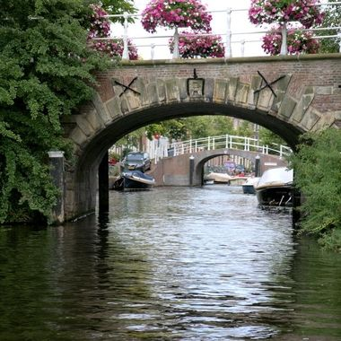One of the views of the canal on a boat tour in Leiden, the Netherlands.