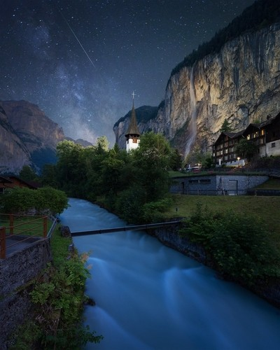 FALLING STAR  This is one of my most favourite and most popular images shot in beautiful Lauterbrunnen earlier this year. This small village in the heart of Switzerland attracts so many tourists every year. In the background on the right hand side you can