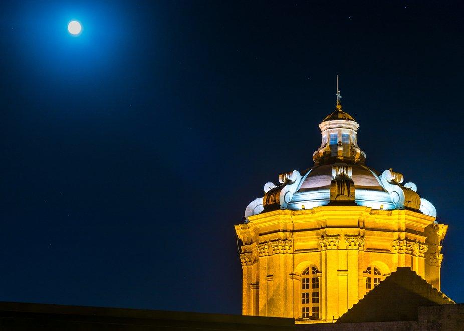 Mdina's Cathedral at night
