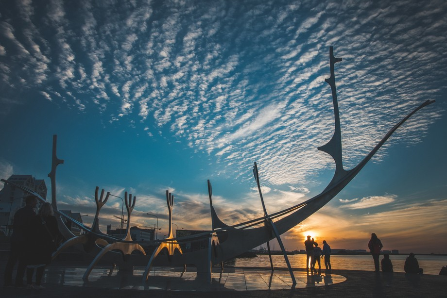 Huge 1990 stainless-steel sculpture of a boat by Jón Gunnar Árnason, set on granite beside the ...