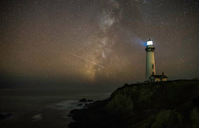 Milky way with astroid Pigeon Point Lighthouse by tomingramphotography - Night Wonders Photo Contest