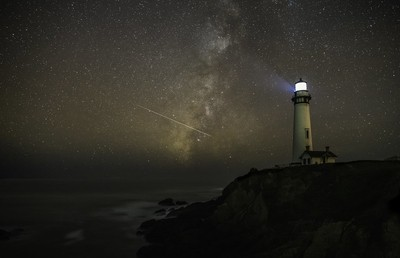 Milky way with astroid Pigeon Point Lighthouse