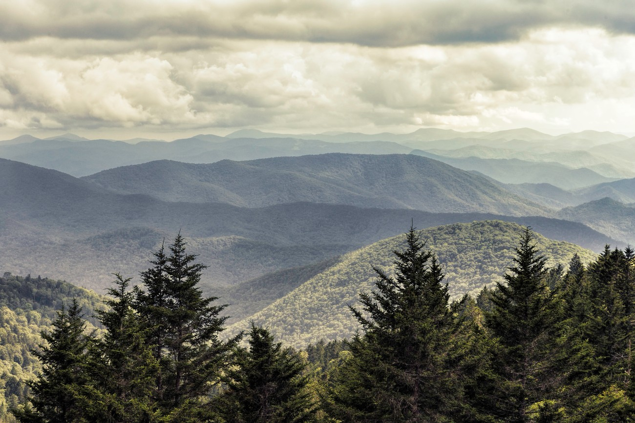 Light and shadows from the Blue Ridge Parkway.