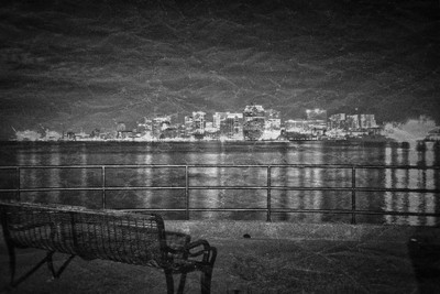 park bench and halifax skyline