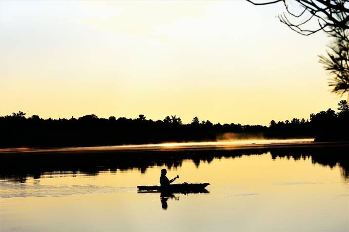 Liked how this kayaker was silhouetted by the golden reflection of the water with the early morning fog