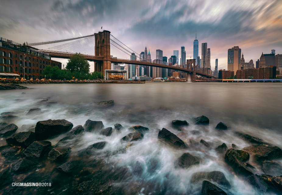 Epic vantage of the iconic Brooklyn Bridge in New York.