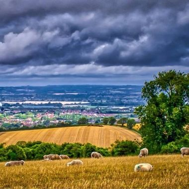 Storm clouds over  Westbury, Wiltshire, UK