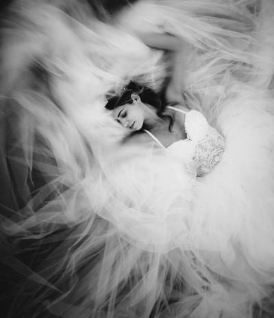 Wedding day fine-art bride portrait.