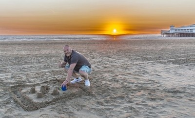 Sand castles at sunset