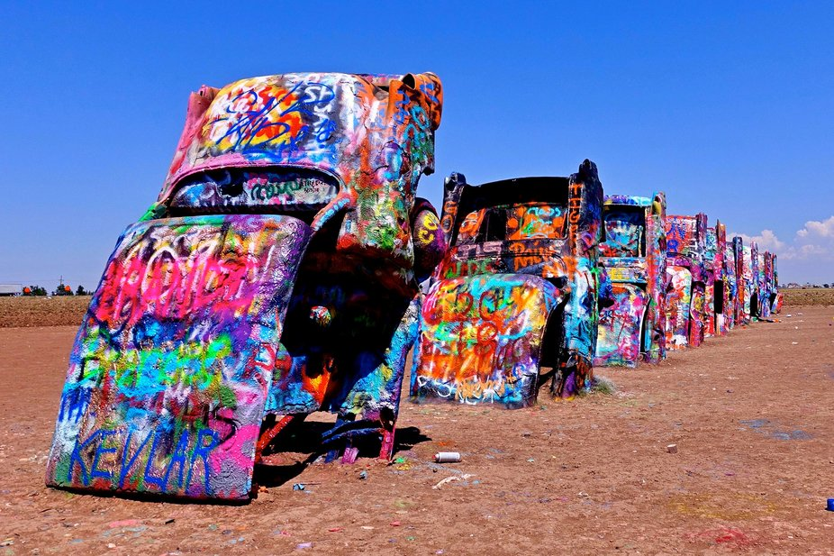 The Cadillac Ranch is an art installation in Amarillo TX in the USA.