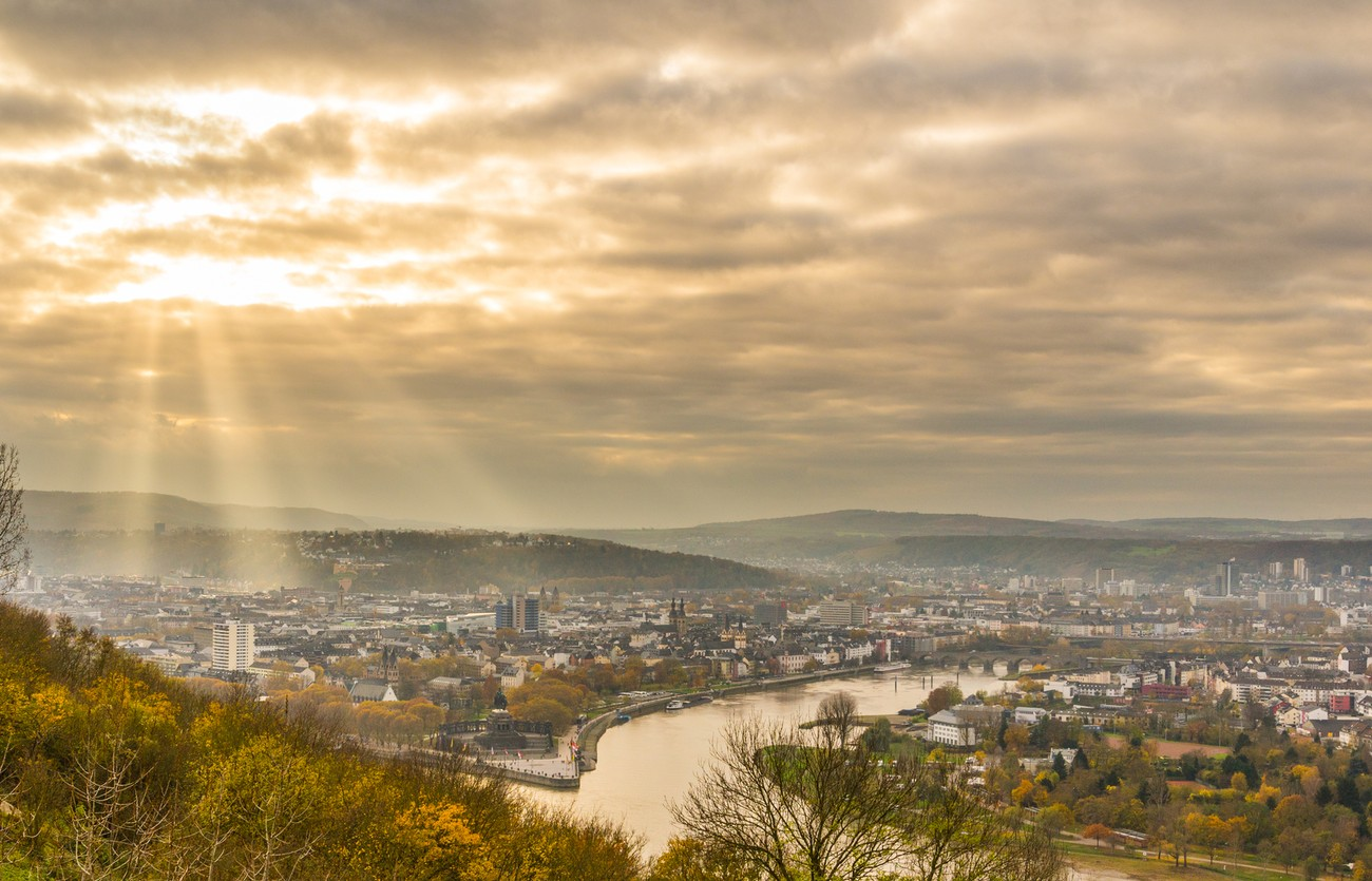 a view over Koblenz from the fort on the hill