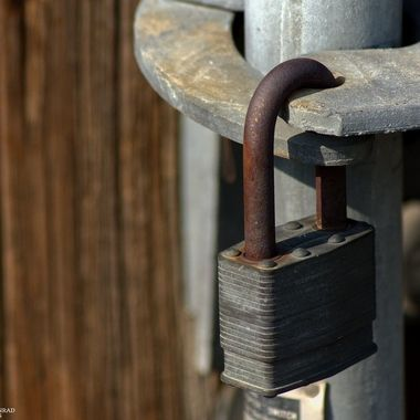 Rusted padlock on utility pole