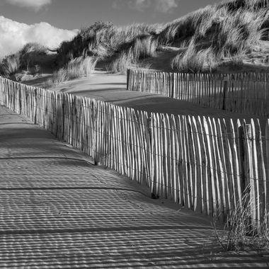 Barriers on the beach at Oleron Island(France)