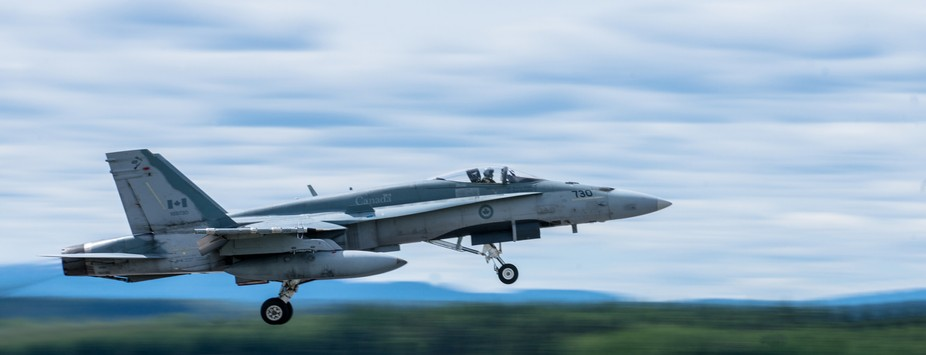 CF-18 take off at the canadian military air base of Bagotville, Qc, Canada