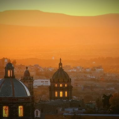 One of the beautiful sunsets in San Miguel De Allende. The light was coming through the windows of the church dome below our rental.