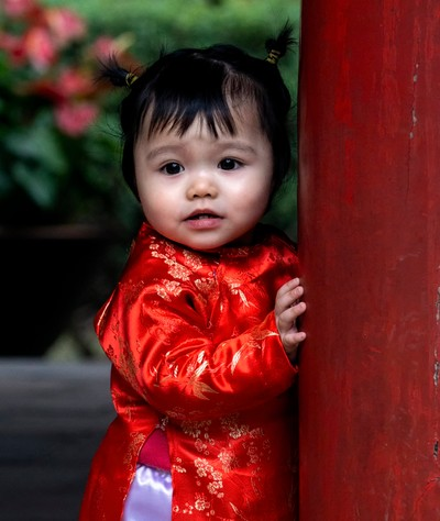 Cute little girl in red
