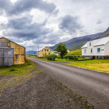Small village in Mjoifjordur on each cost of Iceland