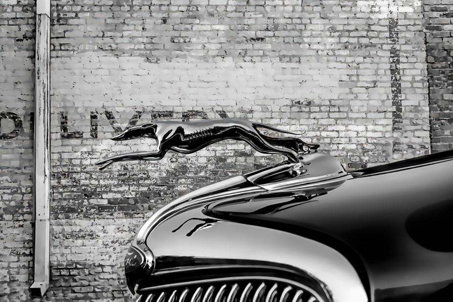 A Ford hood ornament in B&W