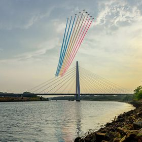 FlyPast by the Red Arrows over the new Northern Spire bridge that spans the River Wear in Sunderland