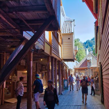I took this photo when me and my wife went on a boat trip to Norway. When we were in Bergen, our guide took us to the old section of the town where we walked through the alleys of the wooden buildings and took some photos.