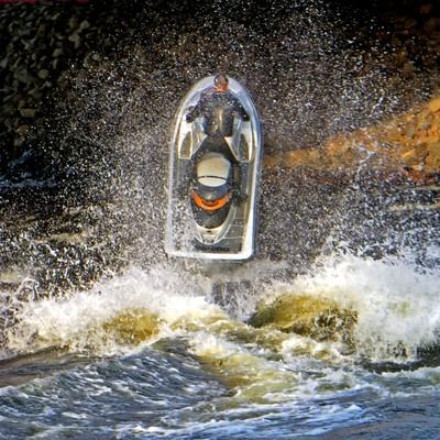 Kinds of Water sports. Jet ski (water motorcycle). Losevskiy threshold, Losevo (formerly Kiviniemi). Leningrad region, St. Petersburg. 20x zoom. Photo 22.