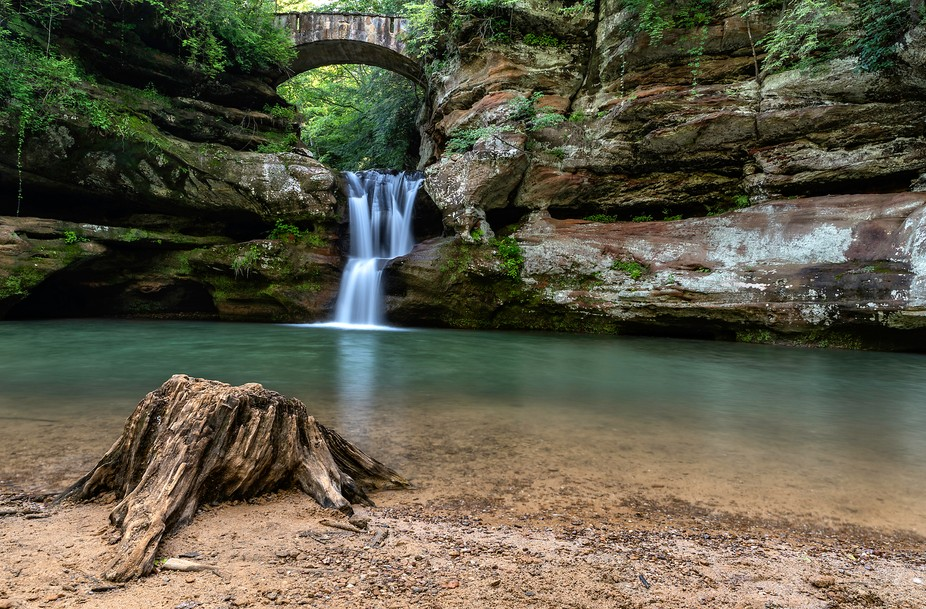 The upper falls located at Old Man's Cave in Hocking Hills.