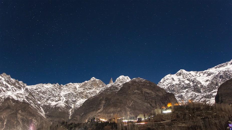 lady finger shines under full moon...shot from Ganish Hunza