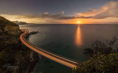 Moonrise at Seacliff Bridge