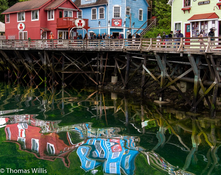 Ketchikan, Alaska with reflections on a rising tide.